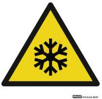 Vigyázz! Alacsony hőmérséklet - Figyelmeztető jel IMPLASER - 9x9 cm átlátszó öntapadó
