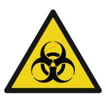 Biológiai veszély! - Figyelmeztető jel IMPLASER - 9x9 cm átlátszó öntapadó