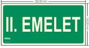 II. EMELET SZINTJELZŐ felirat - Menekülési út, Utánvilágító műanyag tábla 32x16 cm, 0,7 mm vastag - IMPLASER B151