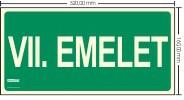 VII. EMELET SZINTJELZŐ felirat - Menekülési út, Utánvilágító műanyag tábla 32x16 cm, 0,7 mm vastag - IMPLASER B156