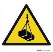 Függő teher! - Figyelmeztető jel  IMPLASER - 9x9 cm átlátszó öntapadó