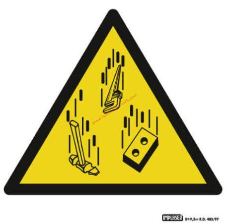 Vigyázz! Leeső tárgyak - Figyelmeztető jel IMPLASER - 9x9 cm átlátszó öntapadó