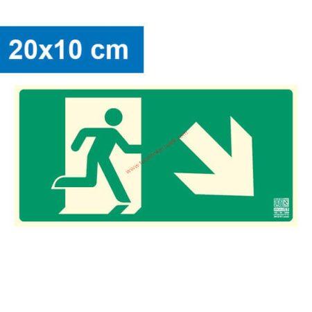 Menekülési út jobbra lefelé (lépcső) mutató, Utánvilágító műanyag tábla 20x10 cm, 0,7 mm vastag - IMPLASER B150