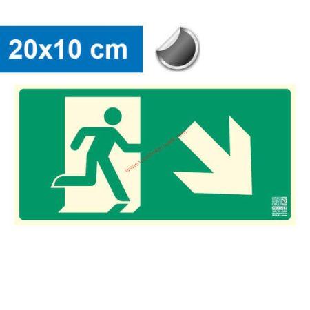 Menekülési út jobbra lefelé (lépcső) mutató, Utánvilágító öntapadó jel 20x10 cm - IMPLASER B150