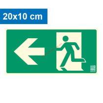 Menekülési út balra, Utánvilágító műanyag tábla 20x10 cm, 0,7 mm vastag - IMPLASER B150