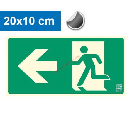 Menekülési út balra, Utánvilágító öntapadó jel 20x10 cm - IMPLASER B150