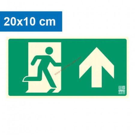 Menekülési út felfelé (előre) mutató, Utánvilágító műanyag tábla 20x10 cm, 0,7 mm vastag - IMPLASER B150