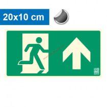 Menekülési út felfelé (előre) mutató, Utánvilágító öntapadó jel 20x10 cm - IMPLASER B150