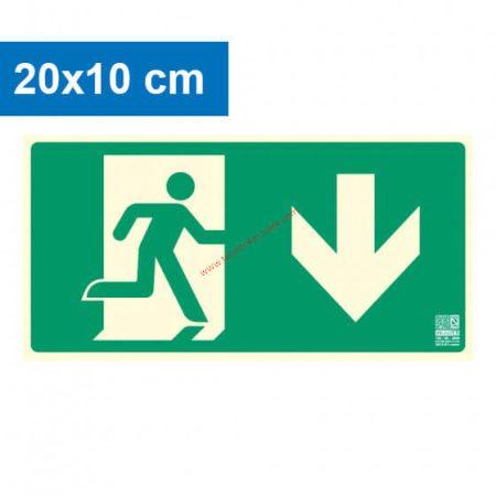 Menekülési út lefelé mutató, Utánvilágító műanyag tábla 20x10 cm, 0,7 mm vastag - IMPLASER B150