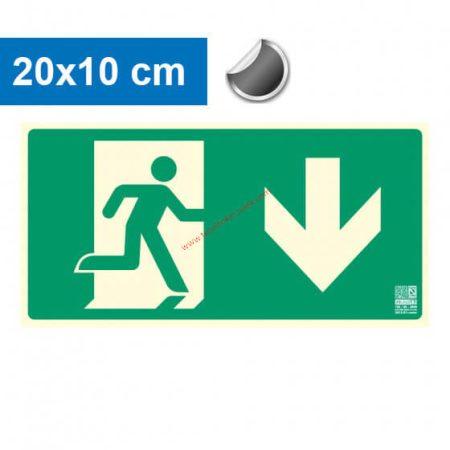 Menekülési út lefelé mutató, Utánvilágító öntapadó jel 20x10 cm - IMPLASER B150