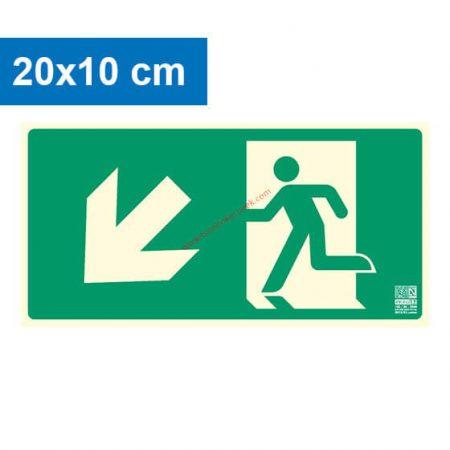 Menekülési út balra lefelé (lépcső) mutató, Utánvilágító műanyag tábla 20x10 cm, 0,7 mm vastag - IMPLASER B150