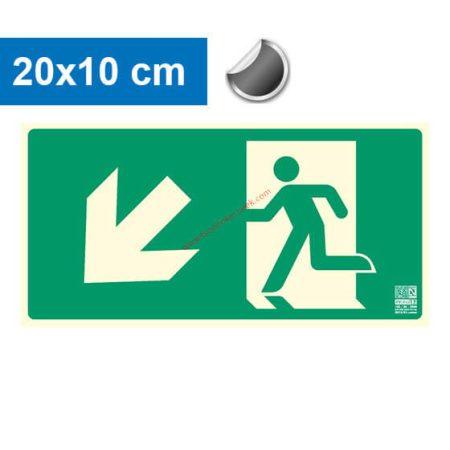 Menekülési út balra lefelé (lépcső) mutató, Utánvilágító öntapadó jel 20x10 cm - IMPLASER B150