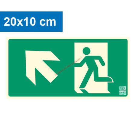 Menekülési út balra felfelé (lépcső) mutató, Utánvilágító műanyag tábla 20x10 cm, 0,7 mm vastag - IMPLASER B150