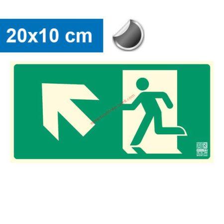Menekülési út balra felfelé (lépcső) mutató, Utánvilágító öntapadó jel 20x10 cm - IMPLASER B150