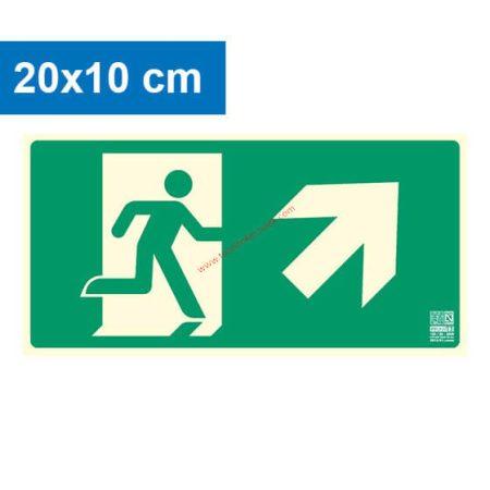 Menekülési út jobbra felfelé (lépcső) mutató, Utánvilágító műanyag tábla 20x10 cm, 0,7 mm vastag - IMPLASER B150