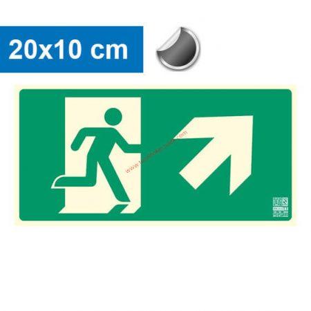 Menekülési út jobbra felfelé (lépcső) mutató, Utánvilágító öntapadó jel 20x10 cm - IMPLASER B150
