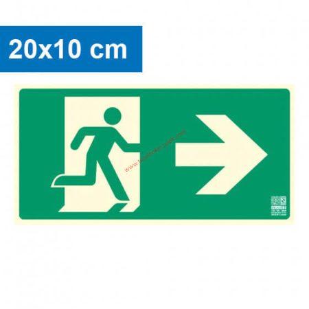 Menekülési út jobbra, Utánvilágító műanyag tábla 20x10 cm, 0,7 mm vastag - IMPLASER B150
