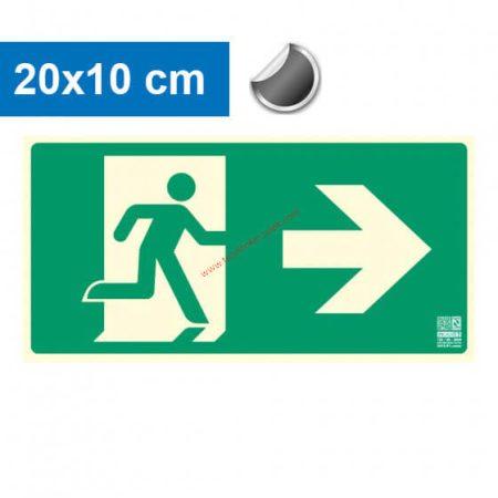 Menekülési út jobbra, Utánvilágító öntapadó jel 20x10 cm - IMPLASER B150