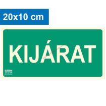 KIJÁRAT felirat - Menekülési út, Utánvilágító műanyag tábla 20x10 cm, 0,7 mm vastag - IMPLASER B150