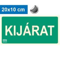 KIJÁRAT felirat - Menekülési út, Utánvilágító öntapadó jel 20x10 cm - IMPLASER B150
