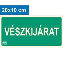 VÉSZKIJÁRAT felirat - Menekülési út, Utánvilágító műanyag tábla 20x10 cm, 0,7 mm vastag - IMPLASER B150