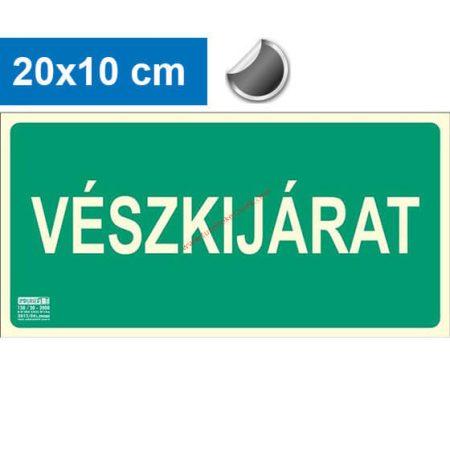VÉSZKIJÁRAT felirat - Menekülési út, Utánvilágító öntapadó jel 20x10 cm - IMPLASER B150