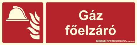GÁZ FŐELZÁRÓ felirat - Tűzvédelmi jel, Utánvilágító műanyag tábla 30x10 cm, 0,7 mm vastag - IMPLASER B150