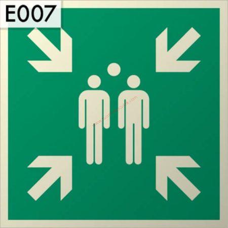 Gyülekezési pont, Utánvilágító biztonsági jel műanyag tábla 21x21 cm