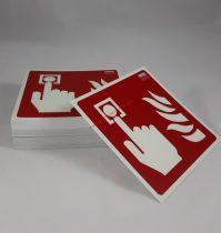 Tűzjelző kézi jelzésadó, Utánvilágító műanyag biztonsági jel tábla 21x21 cm - IMPLASER B150
