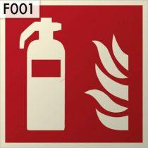 Tűzoltó készülék, Utánvilágító műanyag biztonsági jel öntapadó 15x15 cm - IMPLASER B150