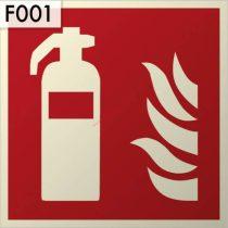 Tűzoltó készülék, Utánvilágító műanyag biztonsági jel tábla 21x21 cm - IMPLASER B150