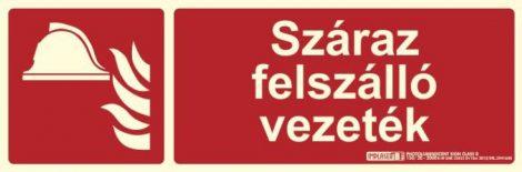 SZÁRAZ FELSZÁLLÓ VEZETÉK felirat - Tűzvédelmi jel, Utánvilágító műanyag tábla 30x10 cm, 0,7 mm vastag - IMPLASER B150