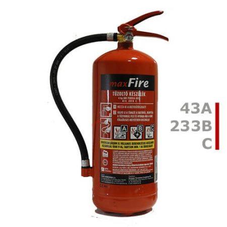 6 kg-os porral oltó ABC tüzekre 43A 233B C teljesítmény - maxFire AKCIÓS + fali függesztő