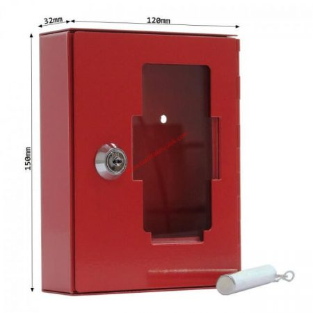 Betörőüveges vészkulcs / tűzkulcs tároló doboz NSK1 kulcsos zárral, kalapáccsal