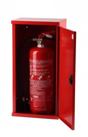 Tűzoltó készülék szekrény, fém, műanyag záras, 12 kg-os készülékhez - 720x300x250 mm