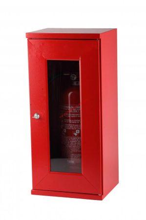 Tűzoltó készülék tároló szekrény, üvegablakos, kulcsos 6-9 kg-os készülékhez