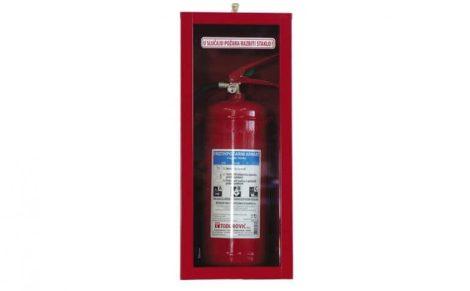 Tűzoltó készülék tároló szekrény, betörhető üveges