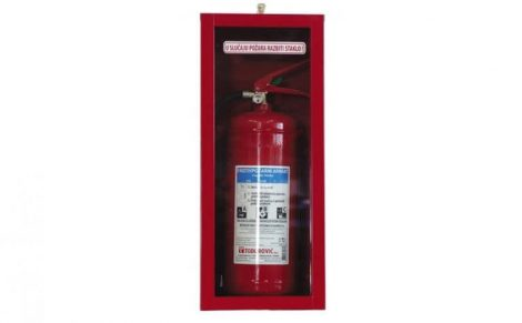 Tűzoltó készülék tároló szekrény, betörhető üveges 600x255x200 mm